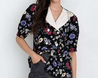 VINTAGE Black Floral Short Sleeve Retro Shirt