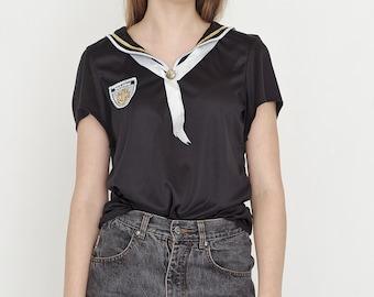 VINTAGE Black Marine Life Retro T-Shirt