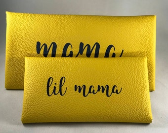 Mama and Lil Mama - Leather Clutch// Mommy and Me Purses// Mommy and mini-me purses// customized leather purse// personalized leather purse