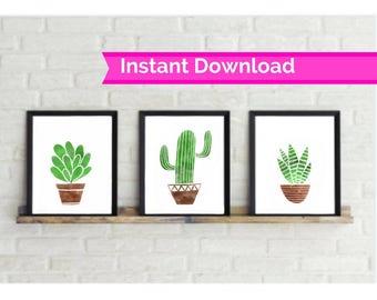 Set of 3 Cactus Succulent Watercolor Print, digital print, wall decor, cactus wall art, downloadable prints, succulent prints, cactus prints