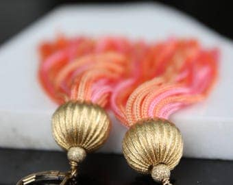 Boho Earrings l Tassel Earrings l Boho Chic Pink Earrings l Statement Earrings l Long Earrings l 14 k Gold Filled Earrings l Vintage