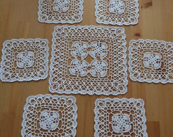 Set of hand crocheted napkins-Gift for her-Birthday gift-Knit accessories-Gift for wedding anniversary-Home decor-Doilies