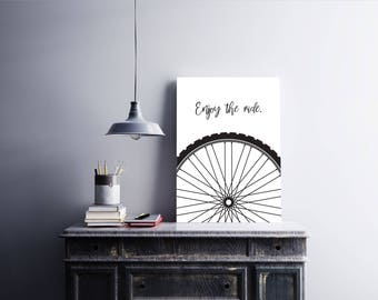 Enjoy the Ride Bike - Printable Wall Art - 11x14 Print - Instant Download