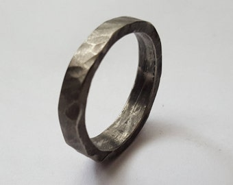 Stainless Steel Mens Ring, Mens wedding band, Blacksmith made, Forged Hammered Stainless Steel Ring