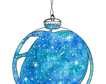 Blue, Galaxy, Nebula, Star, Holiday, Christmas Ornament painting print
