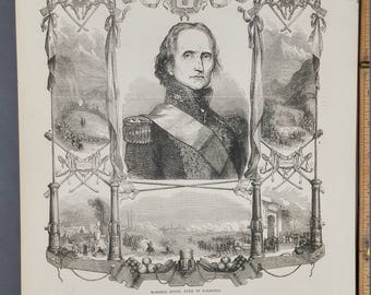 Marshal Soult, Douke of Dalmatia 1853. Battles of Espage, Allemagne and Suisse. Antique Engraving.