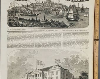 Industrial Exhibition Building, at Halifax, Nova Scotia 1854. Large Antique Engraving, About 11x15