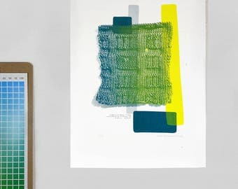 Original Siebdruck Strick Illustration Abstrakte Kunst Limitierte Auflage
