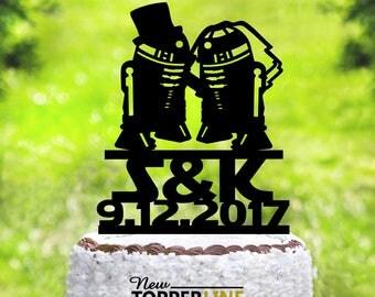 Wedding Cake Topper,Star Wars Cake Topper,R2D2 cake topper, Acrylic Cake Topper,Star Wars Wedding Cake Topper,Star Wars Silhouette (2049)