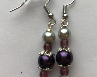 Purple and Silver Drop Earrings, Purple Silver Beaded Drop earrings, Purple Silver Earrings, Silver Purple Earrings, beaded drop earrings