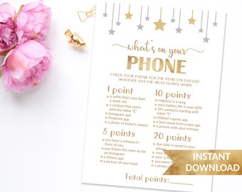 Star baby shower game What's in your phone | Twinkle twinkle little star shower games | Whats in your phone game | Printable gender neutral