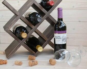Wooden wine rack,rustic wine rack, wood wine rack, wine rack table, wine stand, wine holder, wine gift for him, wine organizer, wooden gifts