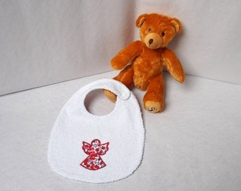 Terry towel Liberty wiltshire red and fabric baby bib white Angel pattern