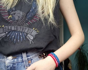 USA flag friendship bracelet
