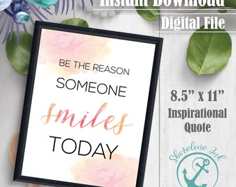 Wall Decor - 'Smiles' - Inspirational Quote | Wall Decor | Inspirational Quote | Instant Download | Digital File