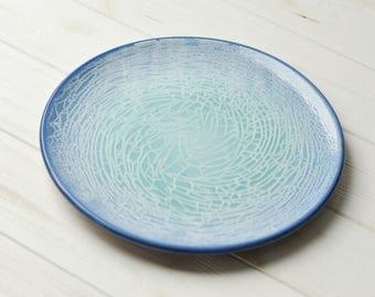 Ceramic plate Dinner Handmade Glazed Modern Birthday gift Mother Serving Blue Ceramic dishes Home decor Kitchen decor