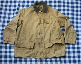 Large / XL Utica Duxbak Hunting Jacket, Mohawk / Chore Coat, Barn, Brown Duck Canvas, Corduroy Collar, Thrashed, Khaki Cotton, X-Large