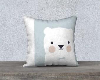 "Decorative pillow cover ""Little bear"" child pillow, room boy, girl's room, design, blue decor, pillow case"
