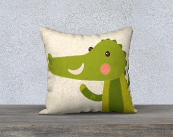 """Decorative pillow cover """"Crocodile"""" green and yellow kids fabric very decoration child room-baby gift pillow cover"""