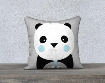 "Decorative cushion for children ""chic Panda"" grey, dark blue and blanctaie pillow gift, baby-nursery children decor"