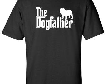 The Dogfather Bulldog Dog Logo Graphic TShirt