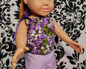 18 Inch Doll Clothes-Lavender Flower 2pc Short Set