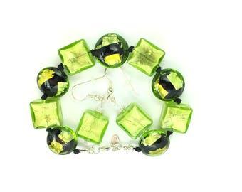 Vitalia Venetian Glass Bracelet and Earring Set
