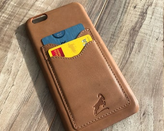 PERSONALIZED Iphone 6 plus Case, Iphone 6S Plus Leather Case, Credit Card Iphone case, Iphone Wallet case, Slim fit Case, LIGHT BROWN