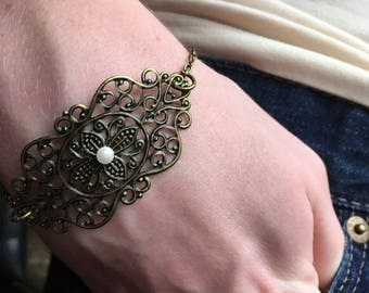 Victorian Filigree Bracelet with White Glass Pearl Accent and Antique Bronze Findings- Widely Adjustable to Fit Virtually Everyone