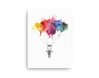 Skydiver Gifts Skydive Parachute. Parachuting Sport Skydivinging Gift Watercolor Art Illustration Wrapped Canvas