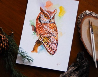 Owl Watercolor Owl Wall Art Owl Painting Forest Owl Art Bird Watercolor Illustration Woodland Wall Decor Nature Bird Lover Gift For Him