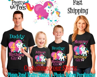 RAINBOW Unicorn Birthday Girl Theme Family BLACK Shirts For the Entire Family Mom Dad Brother and More T-shirts Long/ Short sleeve Crown