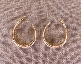 Gold and Enamel Open Hoop Earrings, Gold and Enamel Jewelry, Cream and Gold Earrings, 1980's Costume Earrings, 1980's Costume Jewelry