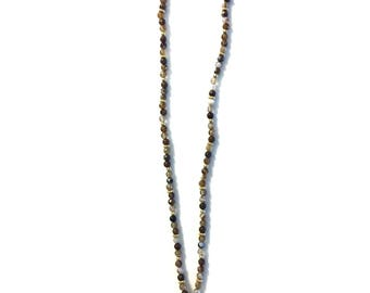 Brown Agate Handmade Beaded Necklace with Chalcedony Pendant