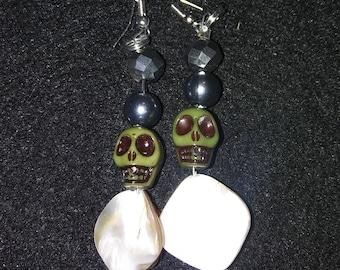 Foggy Green Seaside Dia De Los Muertos Earrings