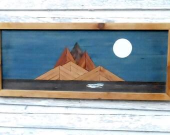 moon over island, repurposed wood art, rustic decor, reclaimed wood art, upcycled wood art, primitive decor art, cabin art, island moon art