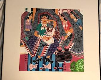 Original Folk art of Krishna with mother Yashoda and other women