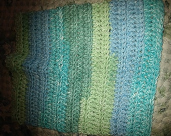 Multi-colored cotton washcloth.
