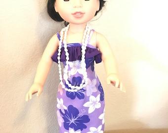Wellie Wisher Hawaiian Luau Dress - Purple