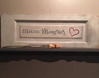 Making Memories reclaimed wood and vinyl sign.