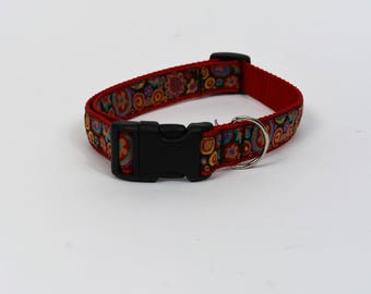 Red floral Dog Collar - Large