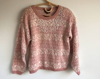 Vintage Pink and White Beaded Sweater 80's Sweater, Carole Little Size M/L