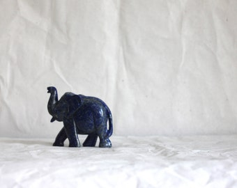 Hand Carved in Natural Lapis Lazuli (gemstone) - Elephant Figurine