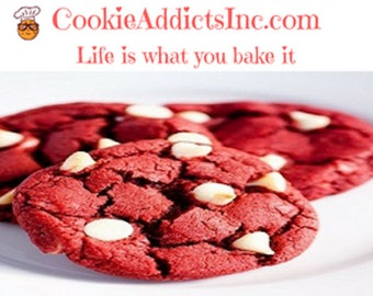 12 Red Velvet White Chocolate Chip Cookies
