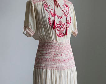 1910s 20s cotton voile peasant dress