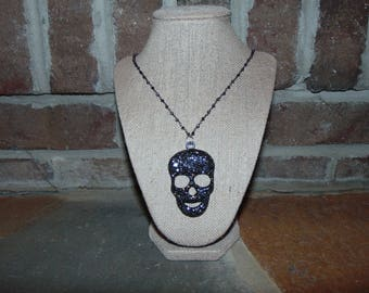 Skinny Gunmental Skull Necklace