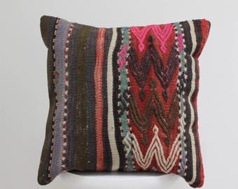 authentic traditional Turkish handmade vintage kilim pillow cover colorful decorative throw pillow Turkey bohemian boho cushion cover
