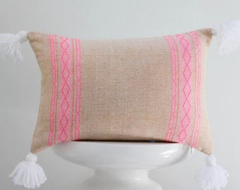 authentic Mexican handmade pillow cover beige and pink embroidered textile decorative throw pillow bohemian boho cushion cover