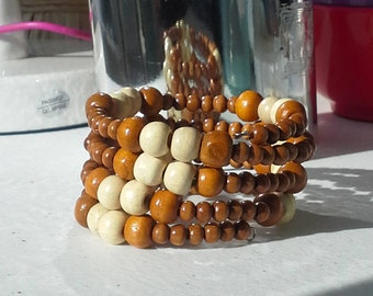 Natural Wood Beads on Memory Wire Wrap