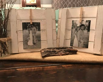White Distressed Wooden Rustic Picture Display